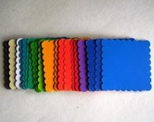 50 Cardstock Squares with Scalloped Edges in a Rainbow of Colors Hand Punched