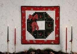 Log Cabin Christmas Wreath Wallhanging Pattern by Eleanor Burns