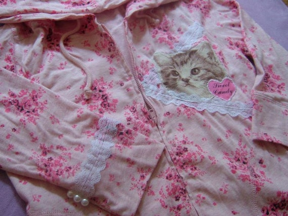 SALE  Kitty Kitty Pink Floral Girly Cat Hoodie