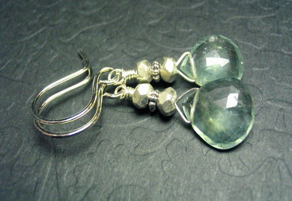 Moss Aquamarine Sterling Silver Gemstone Dangle Earrings