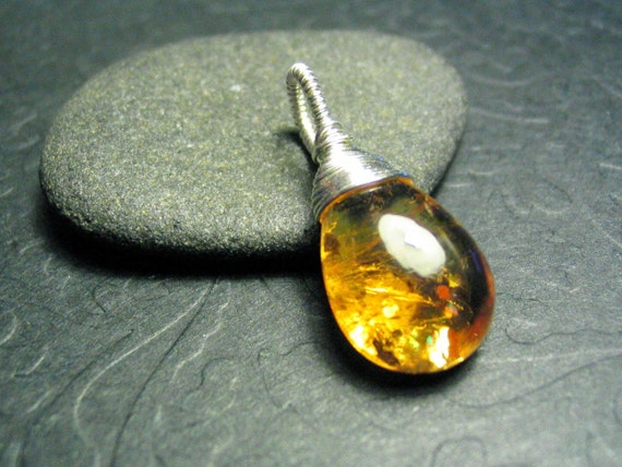 Citrine Gemstone Pendant Sterling Silver Single Focal Solitaire Teardrop Wire Wrap