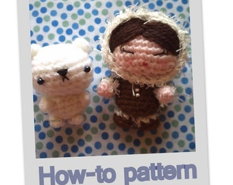 Amigurumi Little Eskimo Girl and Polar Bear pet pdf pattern
