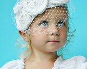 Headband Veil Photo Infant Prop White Silk and Crystal Decades 1940s The Veronica