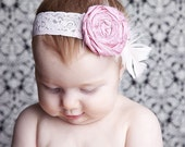 Headband Baby Photo Prop Decades 1930s The Molly Pink Candy Silk