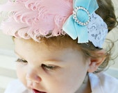 Headband Feather Shabby Photo Prop Baby Pink Blue Decades 1930s The Dolly