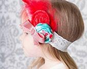 Headband Infant Aqua Red Velvet Matches Holiday Deer Christmas Glam