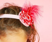 Headband Infant Red Peppermint Twist  Holiday Feather Veil