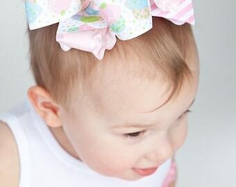 Birthday Cupcake HairBows Pink White Blue