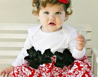 Damask Dress Holiday Red Custom Newborn to 4T Christmas Thanksgiving
