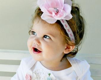 Headband Infant Shabby Pink Rose Matches Paris Bebe Dress Decades