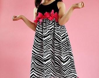 Zebra Punch Size 4 to 8 Custom Dress Black Hot Pink