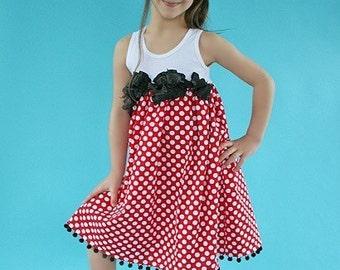 Minnie Vacation Dot Custom Size 4 to 10 Custom Dress