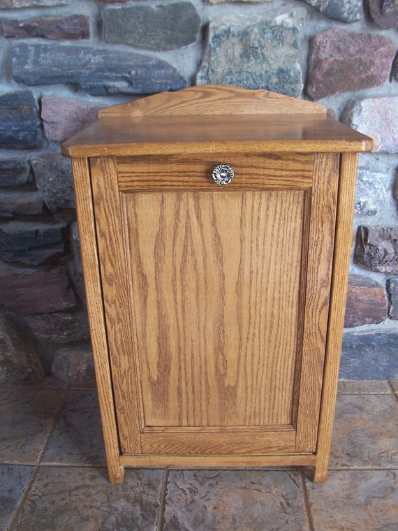 New Oak Wood Trash Bin Cabinet Made To Hide Your Garbage Can