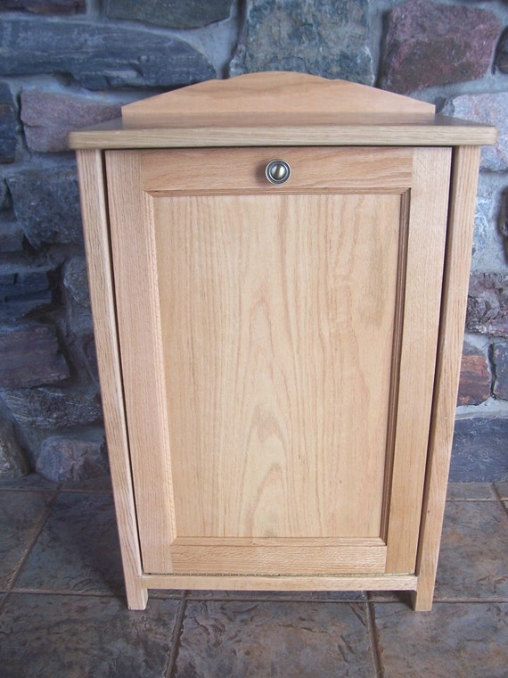 New Natural Oak Wood Trash Bin Cabinet Tilt Out By Woodupnorth