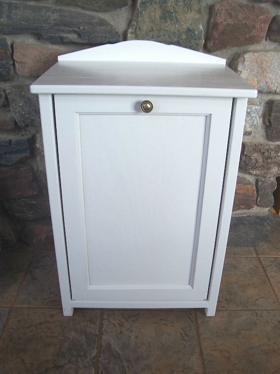 New White Wood Trash Bin Cabinet Tilt Door Garbage Can