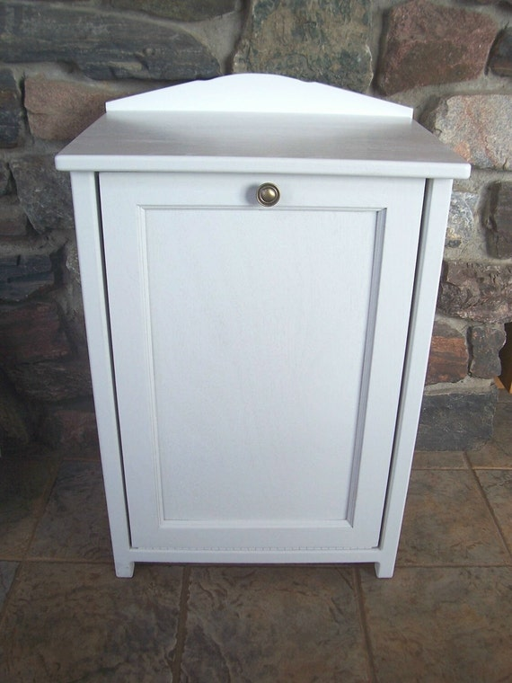New White Wood Trash Bin Cabinet Tilt Door Garbage By