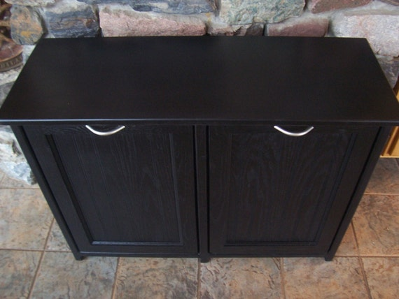 New Black Painted Wood Double Trash Bin Cabinet Garbage Can Tilt Out Doors  Reserved listing for. ◅