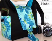 Digital SLR  camera bag padded Hobo Med size seabreeze butterfly cyan interior SNUGGLENS