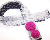 Cute DSLR camera strap cover padded w/ruffles rosettes magenta and heather gray SNUGGLENS