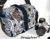 PreOrder camera bag Medium Boss urban grit paisley-cyan blue interior SNUGGLENS