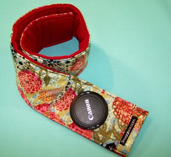 Digital slr Camera Strap Cover PADDED with lens cap pocket for canon-nikon-olympus-pentax-etc  CUSTOM
