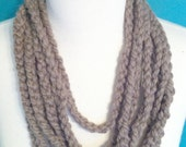 Yarn Necklace in Taupe by THE KNIT OWL