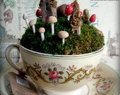 Tiny Toadstools & Teeny Fairy Houses in a Teacup