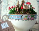 Miniature Mossy Fairy Town in a Teacup Filled with Moss, Faerie Whimsy and Dreamy Delight