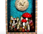 Happy Moon Looking Over a Fairy Night Garden - Upcycled Drawer Shrine