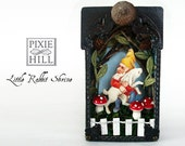Little Rabbit Matchbox Shrine with Gnome and Toadstools