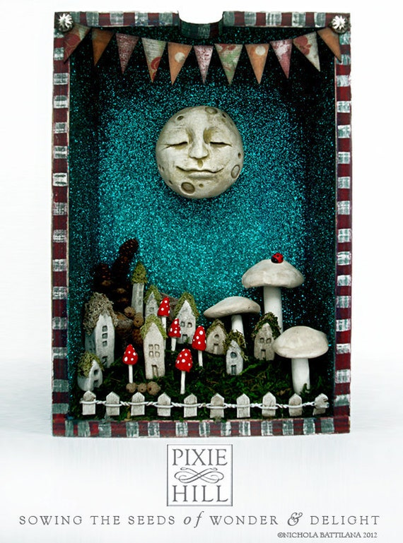 Happy Moon Looking Over a Fairy Village - Upcycled Drawer Shrine