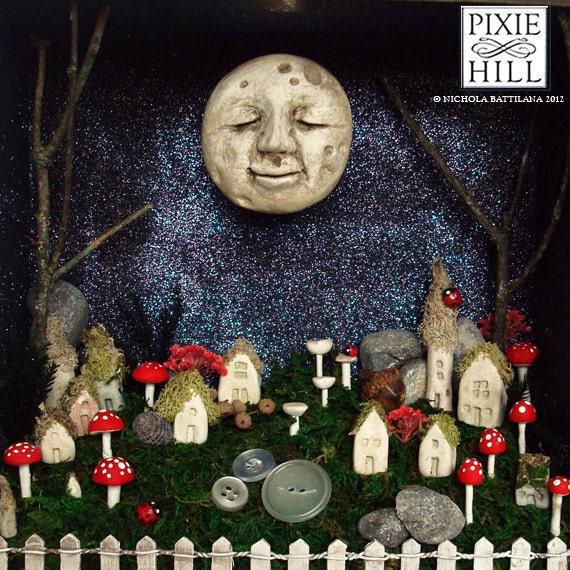 FOR ANGELxox Wise Old Moon Shadow Box Shrine - Upcycled Drawer Shrine