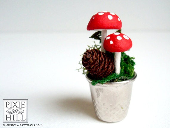 A Faerie Garden - Moss & Red Spotted Mushroom goodness in a thimble :)