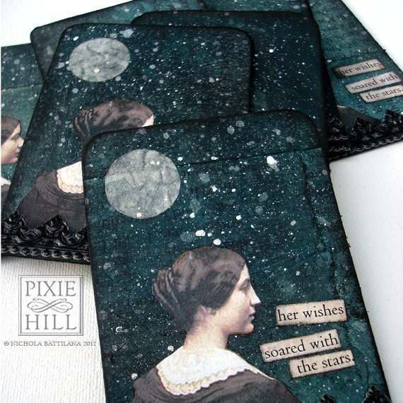 Her Wishes Soared - Original Handmade ACEO Collage - Limited Edition of 10 - Moon, Stars and Night Sky