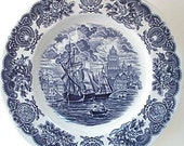 Blue Historical Ports of England Dinner Plate