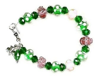 Sale: Lampwork and Crystal Silver-Shamrock Charm Bracelet