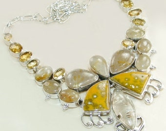Sale: Ocean Jasper, Citrine, and Rutilated Quartz Butterfly Necklace