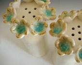 Bouquet Salt and Pepper Shakers --- Handmade Stoneware