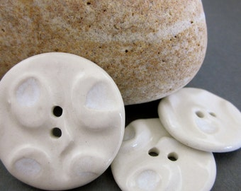 Handmade White Textured Porcelain Buttons
