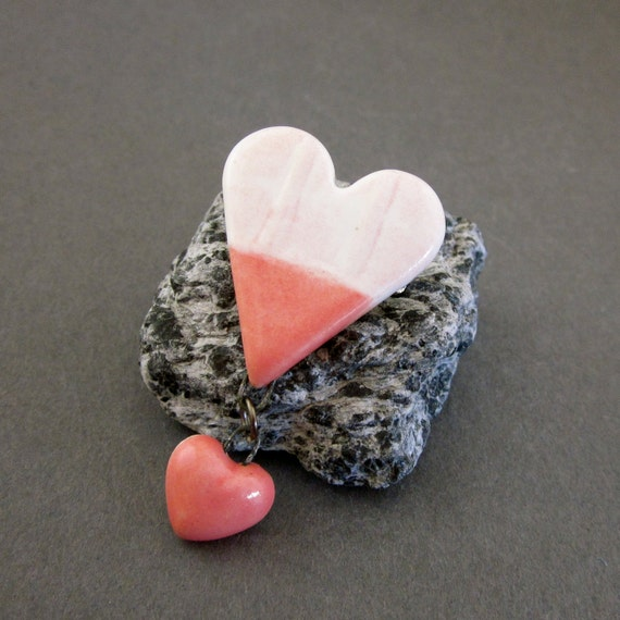 Petite Handmade Porcelain Heart Brooch