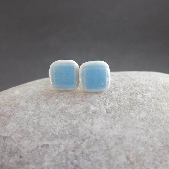 Teeny Tiny Tile Earrings - Sky Blue