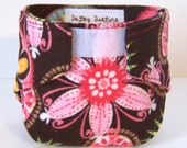 Doll Diaper - Brown with Pink Flowers - Michael Miller Carnival Bloom