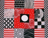 SHOP SALE - Baby Blanket in Black, White and Red Pieced Fabric with Soft Minkie on back
