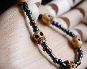 Mardi Gras Beaded Skull Bracelet