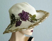 Cotton Crochet 4 inch Brim Hat With Flower Applique