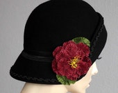 Black Felt Cloche With Red Pleated Flower On Sale