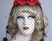 Red Cocktail Hat - Fascinator - Steampunk Wedding - Vintage Veiling On A Felt Flower