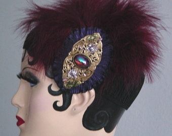 Gatsby Headband On Black Ruched Elastic - Vintage Jewel and Scarlet Feathers