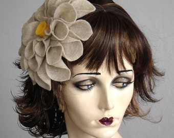 Oatmeal Felt Flower Headpiece Fascinator