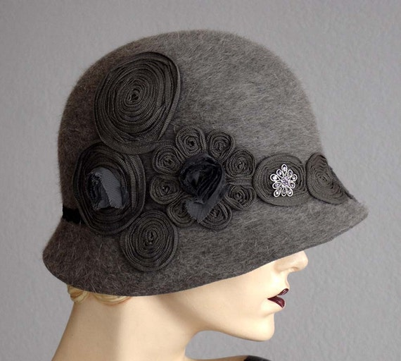 Gray Heathered Felt Cloche With Swarovski Jewel
